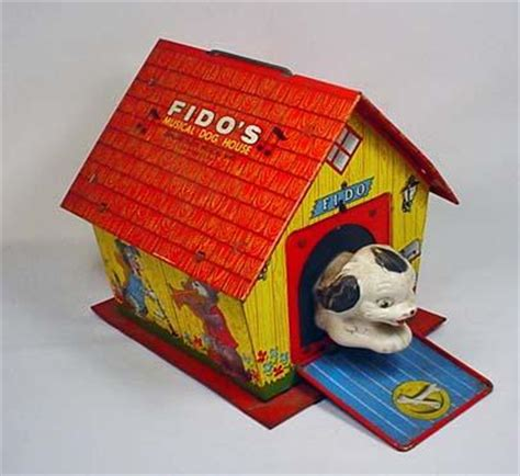 toy dog house vintage tin litho fido s musical dog house toy w
