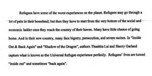 Exle Introduction Essay by Refugee Essay Models Of Excellence