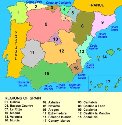 map of spain and regions map of regions of spain espa 209 a spain portugal and basque