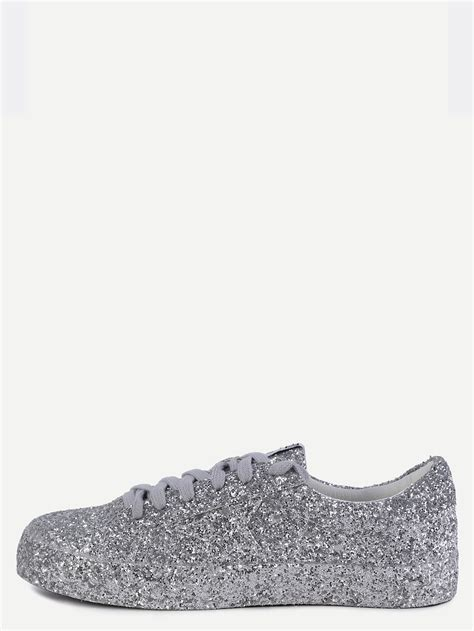 silver sequin sneakers silver sequin leather low top sneakers shein sheinside