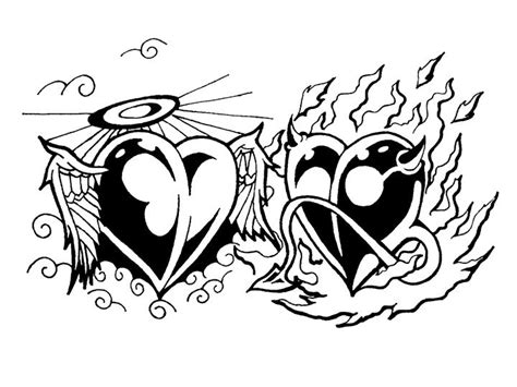 angel devil heart tattoo designs designs