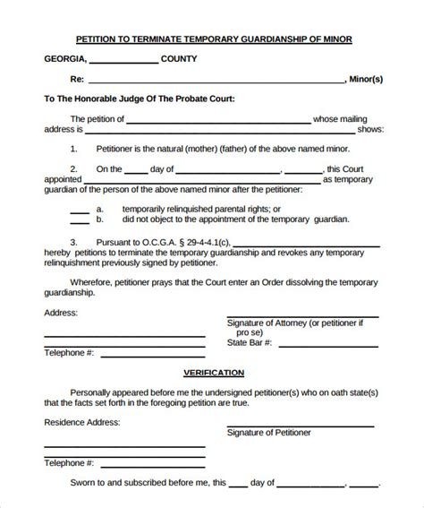temporary will template sle temporary guardianship form 9 documents