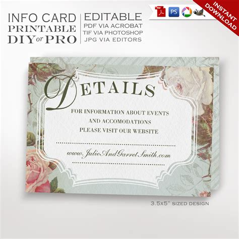Printable Diy French Country Wedding Website Card Template Vintage Rose Wedding Information Wedding Website Card Templates