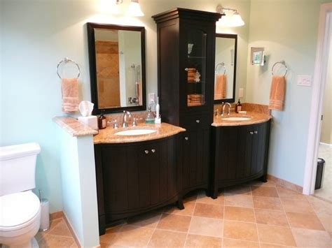 bow front vanity with center linen cabinet