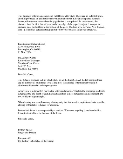 business letter format block business letter exles best letter sle free