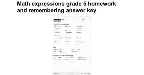 math expressions grade 5 homework and remembering answer