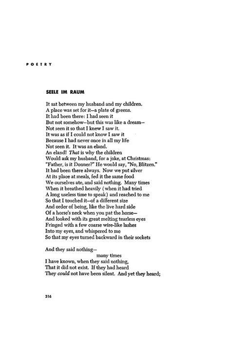 Dramatic monologues: Seele im Raum, BY RANDALL JARRELL