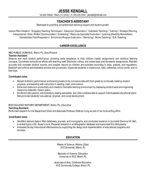 Resume Bullet Points For Teaching Assistant Resume Template For Teachers Aide
