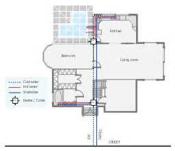 Plumbing Floor Plan by Building Drawing Software For Designing Plumbing