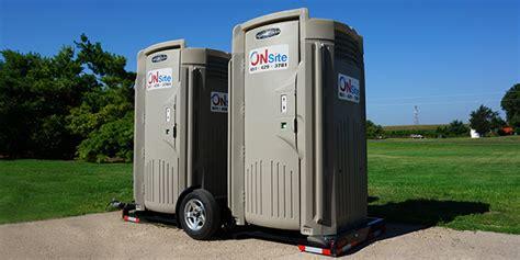 portable bathroom trailer deluxe flush flushing portable restroom on site co