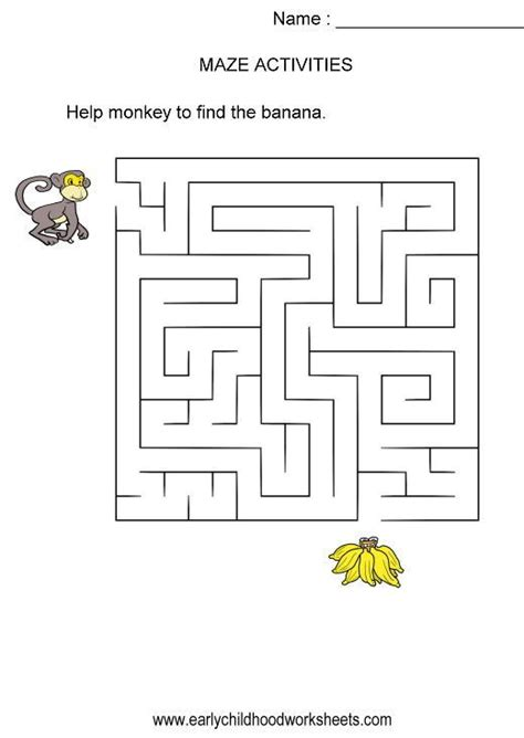 printable monkey maze 44 best mazes images on pinterest free printable