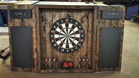 dartboard cabinet rustic dark stained cabinet