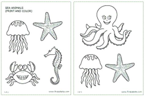 printable ocean animal cutouts sea animals printable templates coloring pages