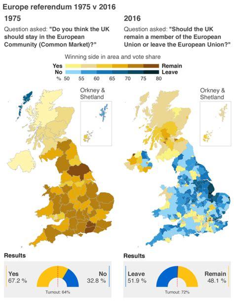 map uk eu referendum united kingdom eu referendum results 1975 vs 2016