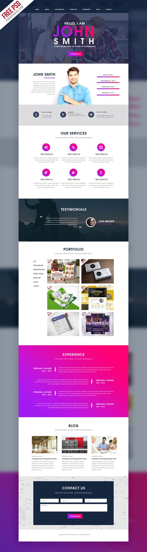 Creative One Page Portfolio Website Template Free Psd Psdfreebies Com Portfolio Web Page Template