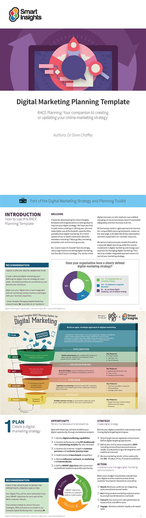 Free Digital Marketing Plan Template Smart Insights Digital Marketing Strategy Template