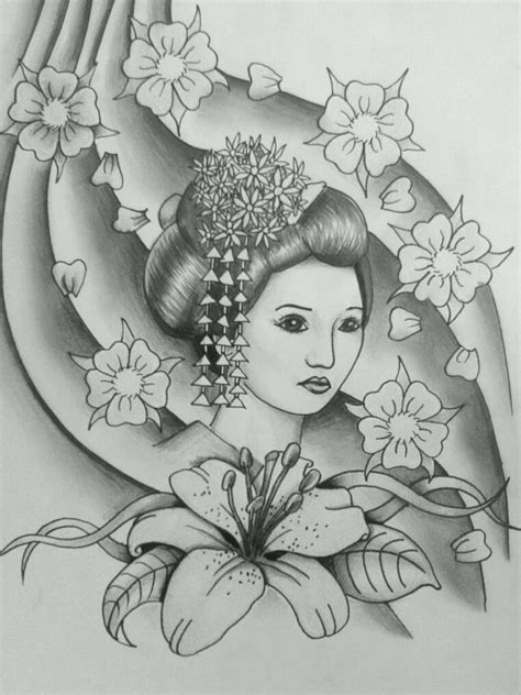 black and grey geisha tattoo geisha black and grey by 76bev on deviantart