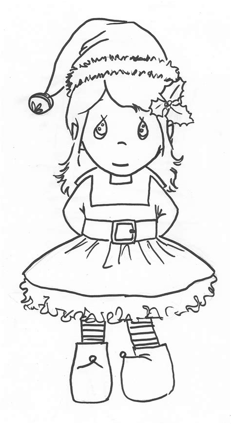 coloring page of a girl elf precious moments girl elf coloring page christmas