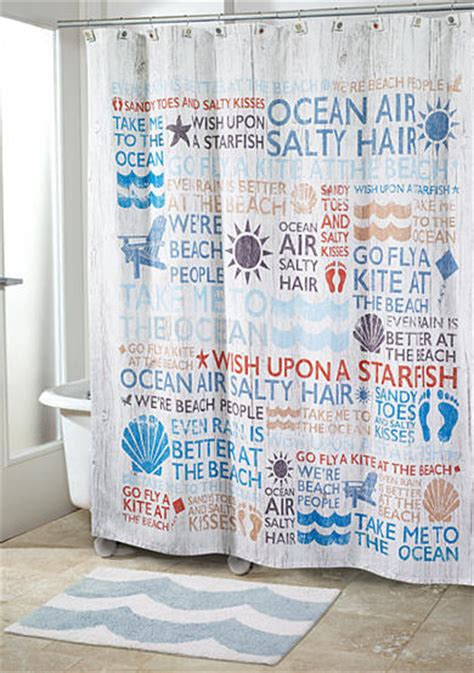 shower curtains with words on them avanti beach words shower curtain and shower hooks belk
