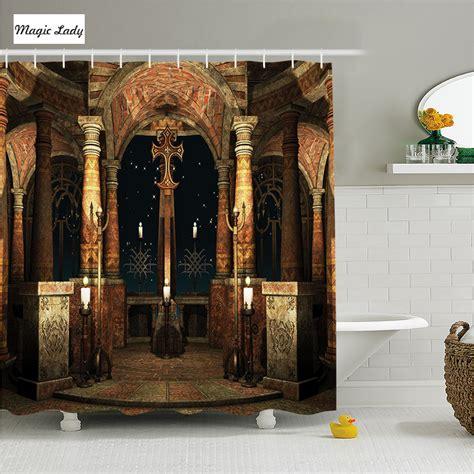religious bathroom decor shower curtain fabric bathroom accessories ancient hall