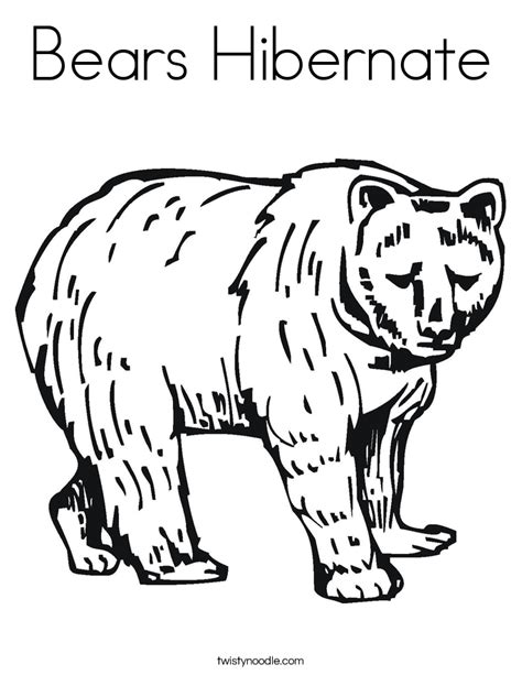 coloring pages of animals that hibernate bears hibernate coloring page twisty noodle
