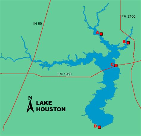 texas bank fishing map lake houston