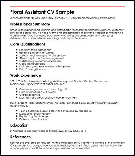 Resume Exles Uk by Floral Assistant Cv Sle Myperfectcv