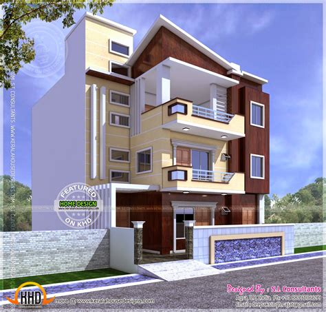 three floor house design india three storied north indian style house kerala home design and floor plans
