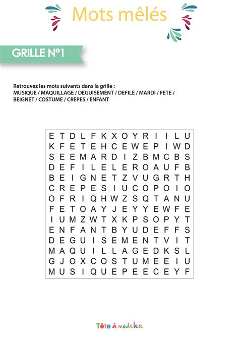 Grille Mots Meles by Mots Meles Carnaval