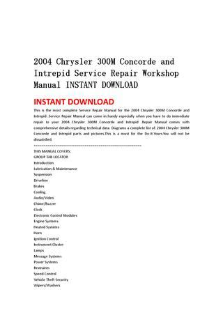 old car repair manuals 2004 chrysler 300m electronic throttle control 2004 chrysler 300m concorde and intrepid service repair workshop manual instant download by