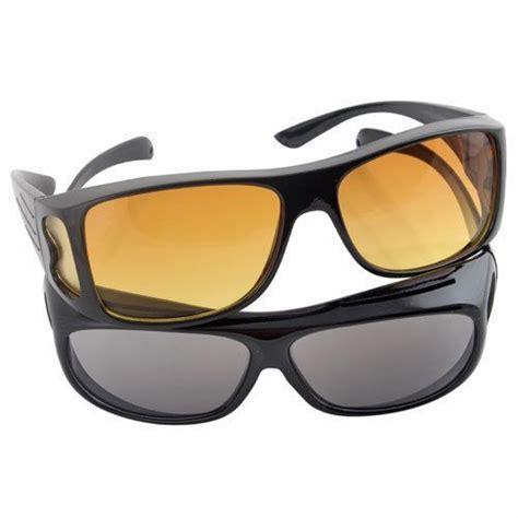 Kacamata Hd Vision Sunglass 2 Pcs Hitam Dan Kuning Siang Malam kacamata anti silau kacamata uv mata sehat bebas