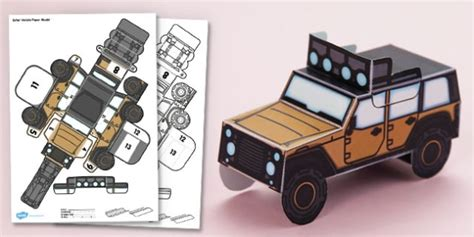safari jeep craft 3d safari vehicle paper model activity paper craft display