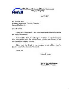 Business Letters Enquiry Business Inquiry Letter