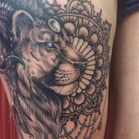 lion tattoo on thigh tattoos