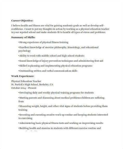 Resume Exles Physical Education 20 Professional Education Resumes Free Premium Templates