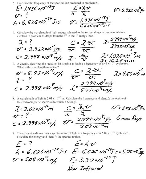 light waves chem worksheet 5 1 answers heritage high school honors physical science light worksheet bohr model
