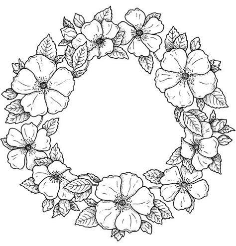 flower wreath coloring page flower designs and motifs cd rom and book b w pics to