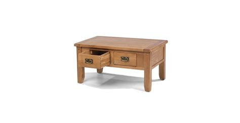rustic oak small 2 drawer coffee table lifestyle