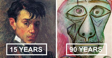 picasso paintings in chronological order picasso s self portrait evolution from age 15 to age 90