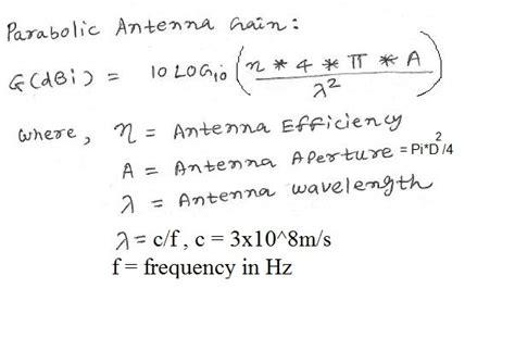 antenna gain calculator parabolic antenna gain calculator
