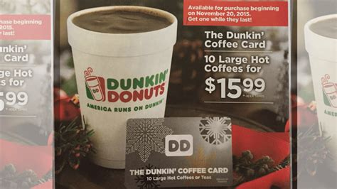 Dunkin Donuts Holiday Coffee Card: $15.99 for 10 Large