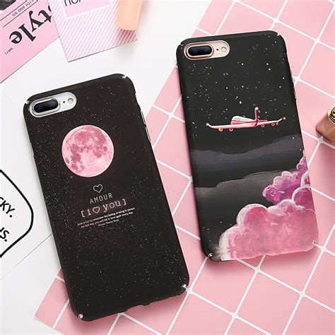 doees phone case  iphone       case cute black pink hard slim moon flamingo star