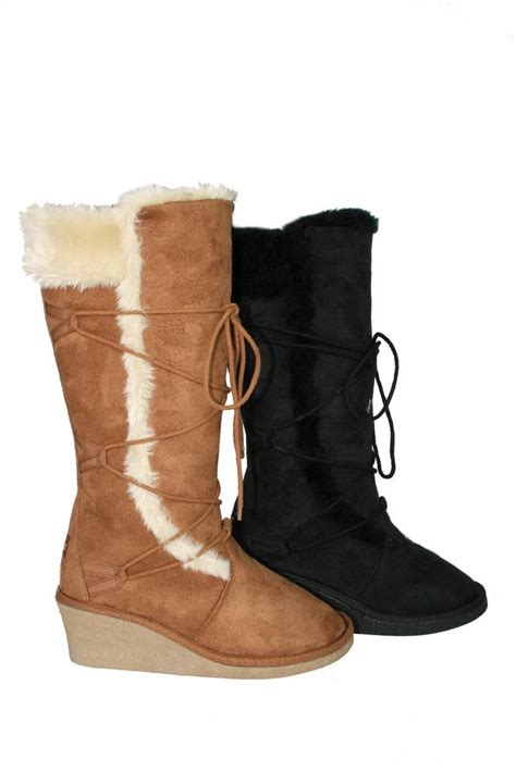 womens faux suede wedge heel lace up snow boots fur lined