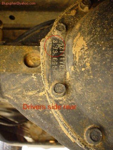 determine  axle gear ratio jeep wrangler tj forum