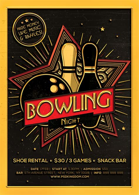 bowling night flyer magazine ad on behance