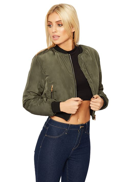 Best Jaket Bomber Cewek Original Bomber Crop Bomber womens cropped combat bomber jacket sleeve zip pocket top coat top ebay