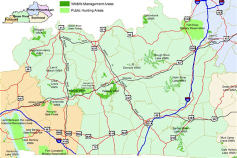 kentucky map with rivers ky wma s green river region