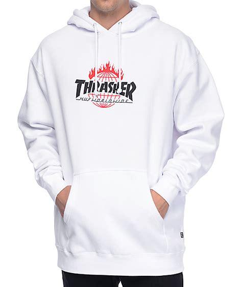 Huf X Thrasher 1 huf x thrasher tds white hoodie zumiez