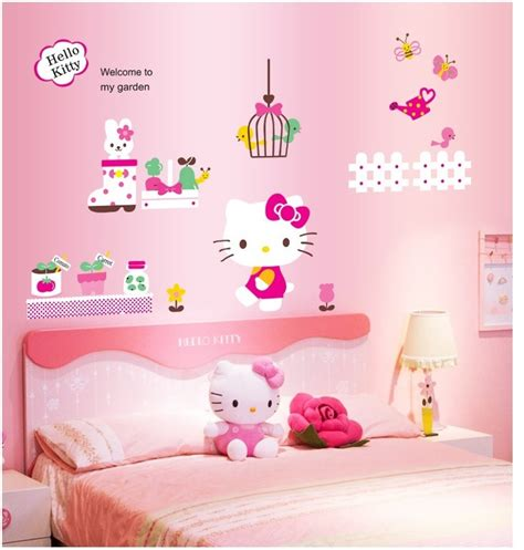 Hello Kitty Home Decor | hello kitty cartoon my garden wall stickers hello kitty