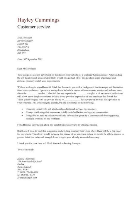 resume cover letter exles for customer service covering letter exle may 2015